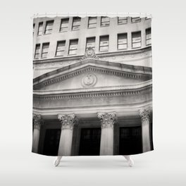 Federal Reserve Bank of Chicago Black and White Shower Curtain