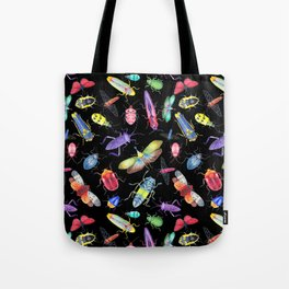 Rainbow Insects on Black, Pattern Tote Bag