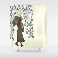 rain Shower Curtains featuring Rain Dance by Cassia Beck