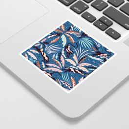 Exotic Wilderness on Blue / Panthers and Plants Sticker