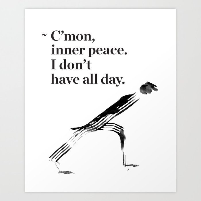 Unny yoga print original yoga art unique yoga gift black and white