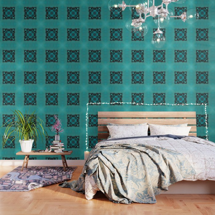 Turquoise Ornate Abstract Design Wallpaper