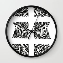 Double Dagger, Black/White Abstract (ink drawing) Wall Clock