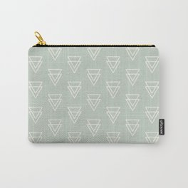 Simple boho geometric triangles pattern in pastel green and off white Carry-All Pouch