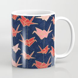 Red origami cranes on navy blue Coffee Mug