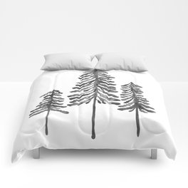 Pine Trees – Black Ink Comforters