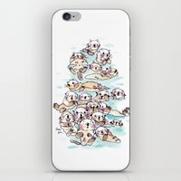 otters iPhone & iPod Skins featuring Wild family series - Otters by Choc Ye