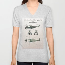 Helicopter patent color Unisex V-Neck