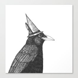 Willem Dacrowe Crow Wearing a Witch's Hat Canvas Print