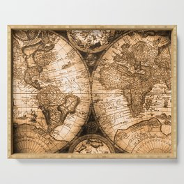 World Map Antique Vintage Maps Serving Tray