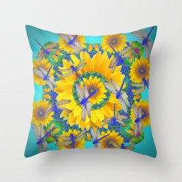 SHABBY CHIC BLUE DRAGONFLIES ON YELLOW SUNFLOWERS ART Throw Pillow