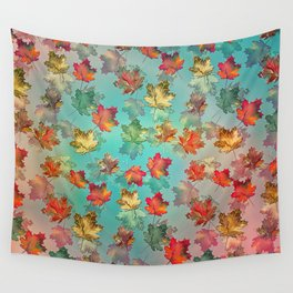 Falling Autumn Leaf Pattern Wall Tapestry