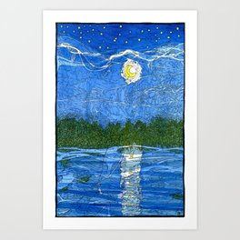 Moonrise Lagoon II Art Print