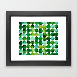 Green Watercolor Circles Pattern Framed Art Print