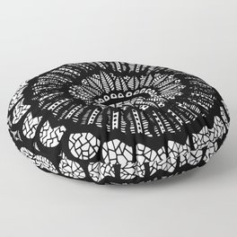 Black and White Freehand Drawing Mandala Design Floor Pillow