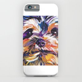 Fun Yorkie Dog Portrait bright colorful Pop Art Painting by LEA iPhone Case
