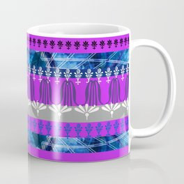 ornament stripes pattern blue pink Coffee Mug
