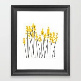 Hello Spring! Yellow/Black Retro Plants on White #decor #society6 #buyart Framed Art Print