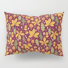 Autumn Forest Leafs and Mushrooms - Red Pillow Sham