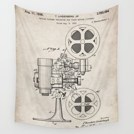 Film Projector Patent - Cinema Art - Antique Wall Tapestry