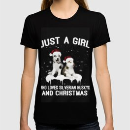 Just a Girl Who Loves Silverian Huskys And Christmas T-shirt
