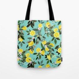 Summer Lemon Floral Tote Bag