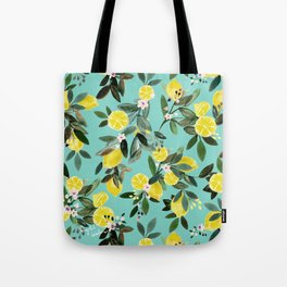 Summer Lemon Floral Tote Bag
