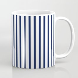 Navy Blue Vertical Stripes Coffee Mug