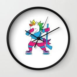 Dabbing Hockey Unicorn Ice Hockey Girls Unicorn Wall Clock