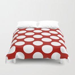 White & Red Navy Polkadot Pattern Duvet Cover