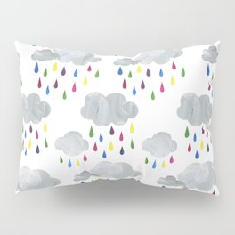 Rainbow Rain Clouds Pillow Sham