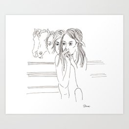 Katie and the Horses Art Print
