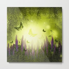 """""""Forest, flowers and butterflies"""" Metal Print"""