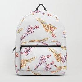 Hand drawn pink coral orange watercolor floral berries Backpack