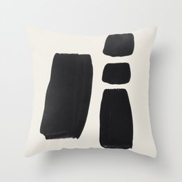Mid Century Modern Minimalist Abstract Art Brush Strokes Black & White Ink Art Square Shapes Throw Pillow