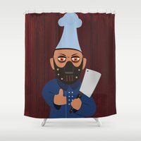 chef Shower Curtains featuring Chef Hannibal by Tonya Wilson Designs