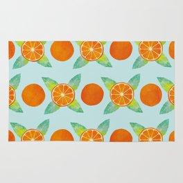 Watercolor Oranges Pattern in Blue Rug