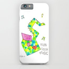 """""""Play Your Music"""" Original Watercolor Painting Colorful Saxophone by Lenna Arty iPhone Case"""