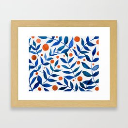 Watercolor berries and branches - blue and orange Framed Art Print