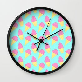 Pink Ice Cream on Blue Wall Clock