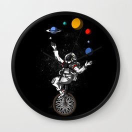 Astronaut Juggling Space Planets Astronomy Wall Clock