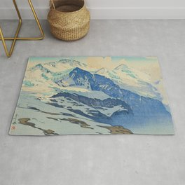 The Jungfrau Vintage Beautiful Japanese Woodblock Print Hiroshi Yoshida Rug