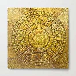 Golden Solar Symbol Metal Print