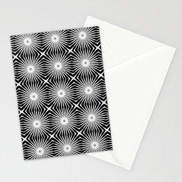 Black and White Starburst MidMod Pattern Stationery Cards