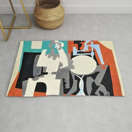 Pierrot and Harlequin at the cafe terrace - Digital Remastered Edition Rug
