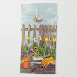 Spring Gardening Beach Towel