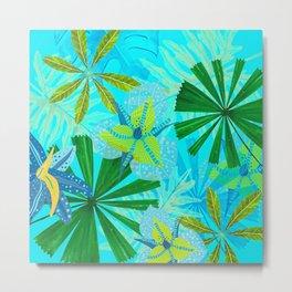 My blue abstract Aloha Tropical Jungle Garden Metal Print