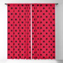 Black on Crimson Red Stars Blackout Curtain