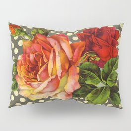victorian red roses and polka dots Pillow Sham