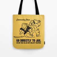 community Tote Bags featuring Community Chase by Fanboy30
